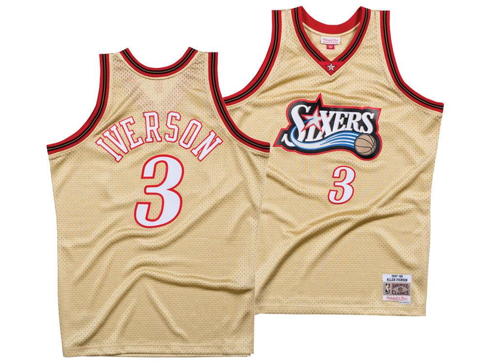 d9957c9f1 Philadelphia 76ers Allen Iverson Mitchell   Ness NBA Men s Gold Collection Swingman  Jersey