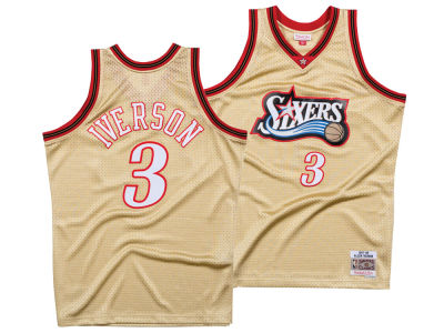 Philadelphia 76ers Allen Iverson Mitchell & Ness NBA Men's Gold Collection Swingman Jersey