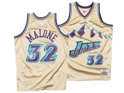Utah Jazz Karl Malone Mitchell & Ness NBA Men's Gold Collection Swingman Jersey