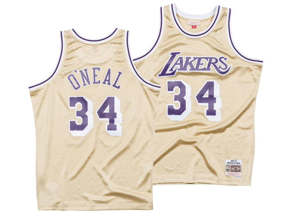 Los Angeles Lakers Shaquille O Neal Mitchell   Ness NBA Men s Gold  Collection Swingman Jersey  58e0e55b8737