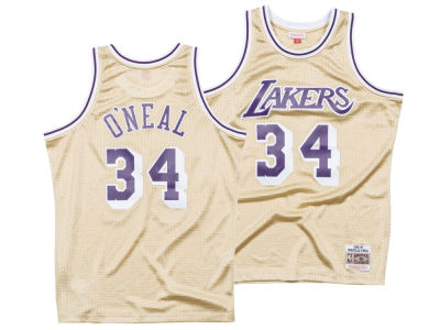 Los Angeles Lakers Shaquille O'Neal Mitchell & Ness NBA Men's Gold Collection Swingman Jersey
