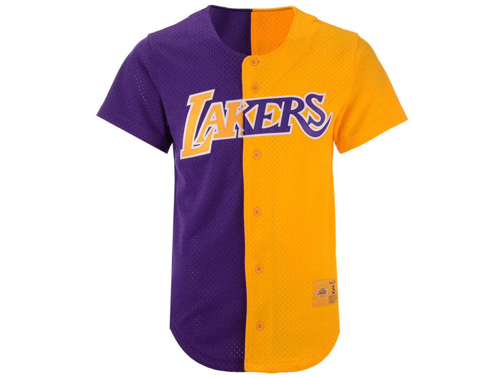 775d3b1af Los Angeles Lakers Mitchell   Ness NBA Men s Split Mesh Front Button Jersey