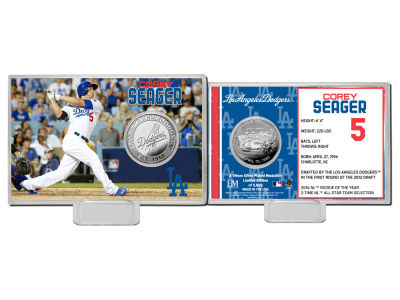 Los Angeles Dodgers Corey Seager Highland Mint Coin Card-Silver