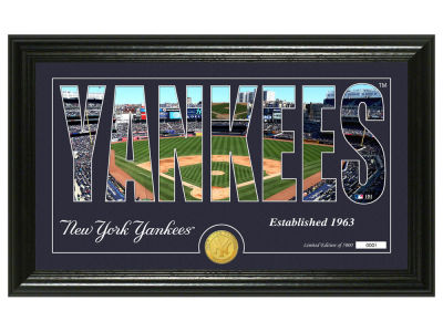New York Yankees Highland Mint Silhouette Panoramic Bronze Coin Photo Mint