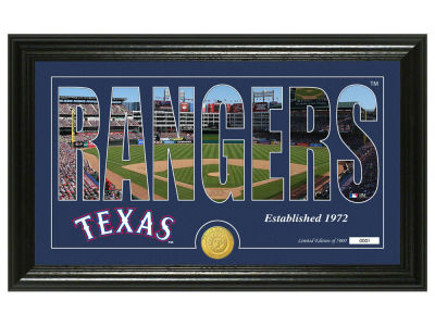 Texas Rangers Highland Mint Silhouette Panoramic Bronze Coin Photo Mint