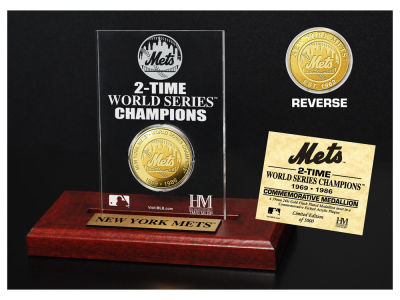 New York Mets Highland Mint World Series Champions Gold Coin Etched Acrylic