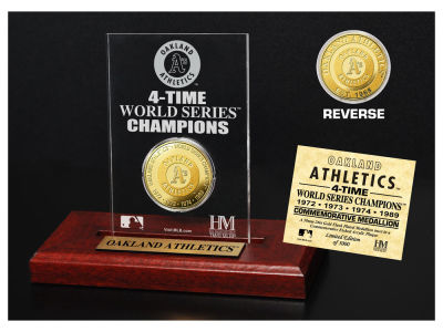 Oakland Athletics Highland Mint World Series Champions Gold Coin Etched Acrylic