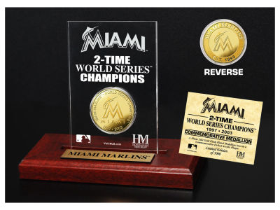 Miami Marlins Highland Mint World Series Champions Gold Coin Etched Acrylic