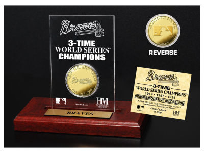 Atlanta Braves Highland Mint World Series Champions Gold Coin Etched Acrylic