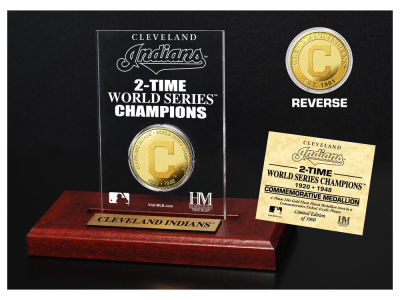 Cleveland Indians Highland Mint World Series Champions Gold Coin Etched Acrylic