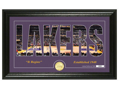 Los Angeles Lakers Highland Mint Silhouette Bronze Coin Photo Mint