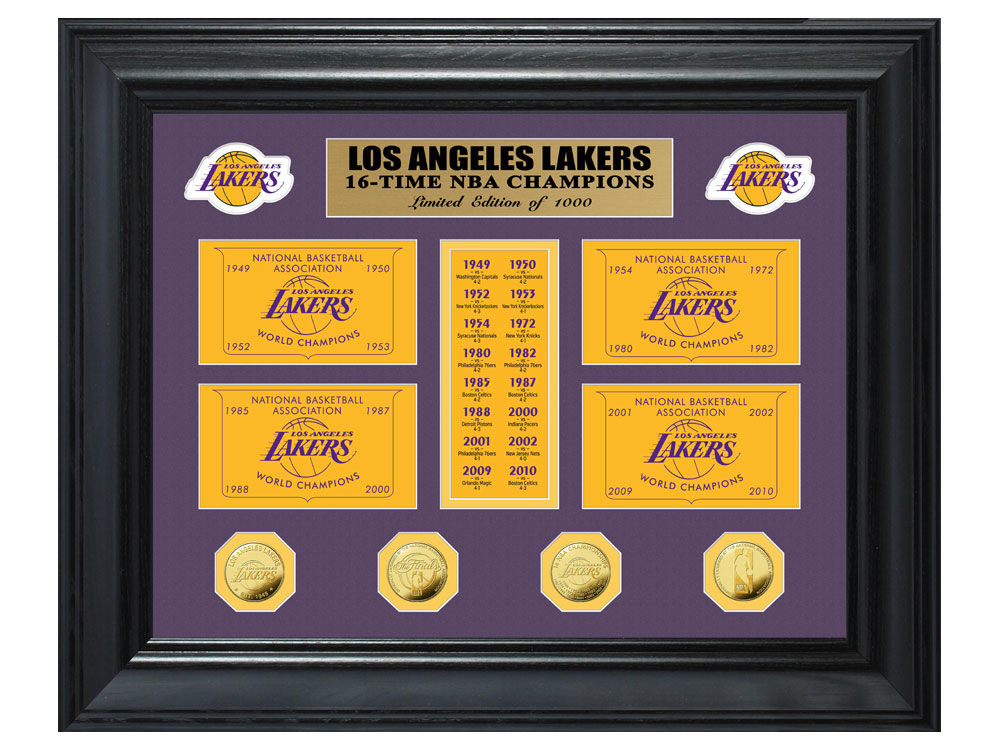 b6dea507654 Los Angeles Lakers Highland Mint NBA Champions Deluxe Gold Coin Banner  Collection
