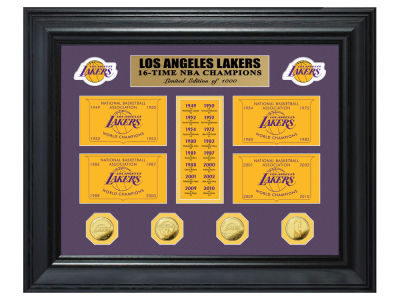 Los Angeles Lakers Highland Mint NBA Champions Deluxe Gold Coin Banner Collection