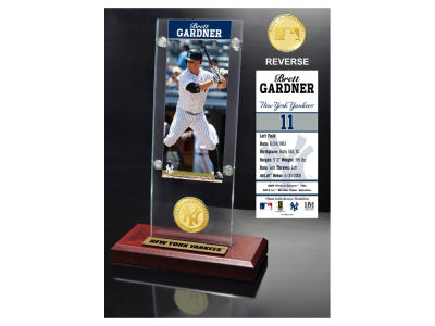 New York Yankees Brett Gardner Highland Mint Ticket & Bronze Coin Acrylic Desk Top