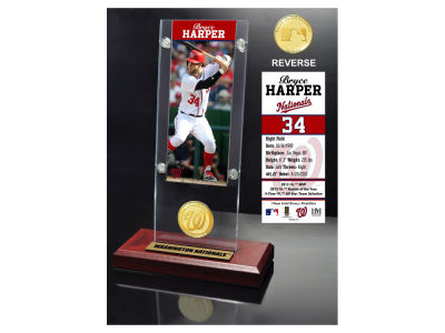 Washington Nationals Bryce Harper Highland Mint Ticket & Bronze Coin Acrylic Desk Top