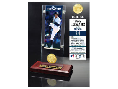 Seattle Mariners Felix Hernandez Highland Mint Ticket & Bronze Coin Acrylic Desk Top