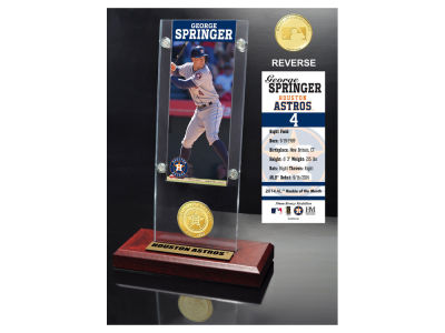 Houston Astros George Springer Highland Mint Ticket & Bronze Coin Acrylic Desk Top