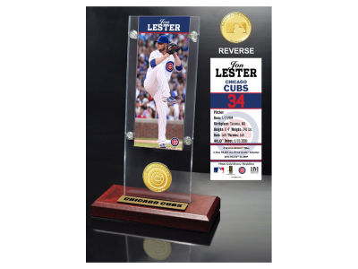 Chicago Cubs Jon Lester Highland Mint Ticket & Bronze Coin Acrylic Desk Top