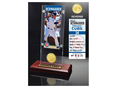 Chicago Cubs Kyle Schwarber Highland Mint Ticket & Bronze Coin Acrylic Desk Top