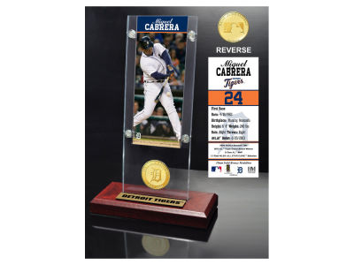 Detroit Tigers Miguel Cabrera Highland Mint Ticket & Bronze Coin Acrylic Desk Top