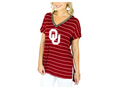 Oklahoma Sooners Gameday Couture NCAA Women's Pinstripe Beaded V-Neck T-Shirt