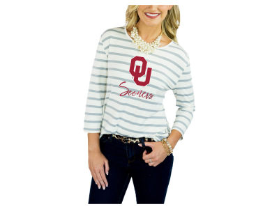 Oklahoma Sooners Gameday Couture 2018 NCAA Women's Striped 3/4 Sleeve T-Shirt