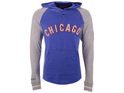 Chicago Cubs Mitchell & Ness MLB Men's Slugfest Lightweight Hooded Long Sleeve T-shirt