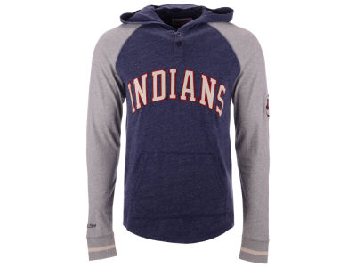 Cleveland Indians Mitchell & Ness MLB Men's Slugfest Lightweight Hooded Long Sleeve T-shirt