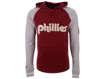 Philadelphia Phillies Mitchell & Ness MLB Men's Slugfest Lightweight Hooded Long Sleeve T-shirt