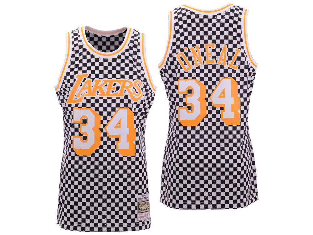 f68602415ee Los Angeles Lakers Shaquille O Neal Mitchell   Ness NBA Men s Checkerboard Swingman  Jersey