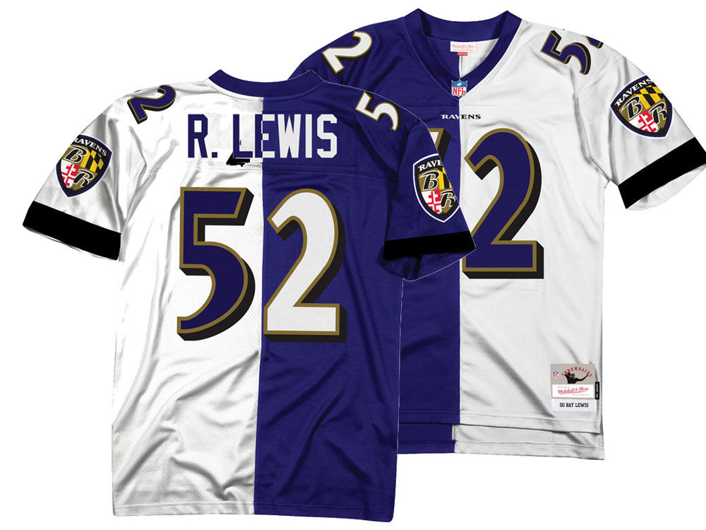 1f5d75979b3 ... hot baltimore ravens ray lewis mitchell ness nfl mens home away split  legacy jersey lids 8ebe0