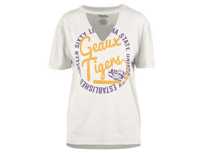LSU Tigers Pressbox NCAA Women's Cutout V-Neck T-Shirt
