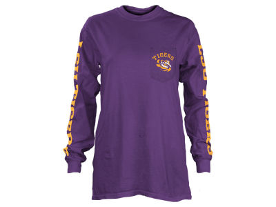 LSU Tigers Pressbox NCAA Women's Long Sleeve Pocket T-Shirt