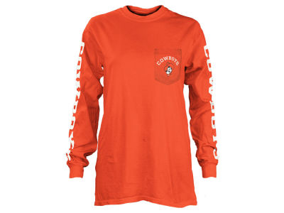 Oklahoma State Cowboys Pressbox NCAA Women's Long Sleeve Pocket T-Shirt