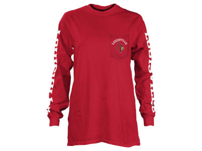 Louisville Cardinals Pressbox NCAA Women's Long Sleeve Pocket T-Shirt
