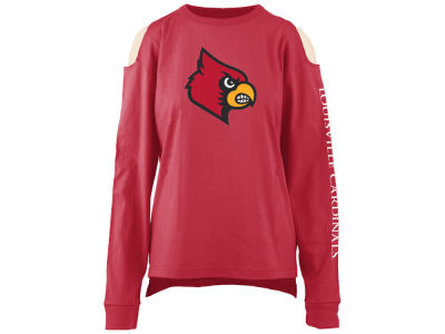 Louisville Cardinals Pressbox NCAA Women's Cold Shoulder Long Sleeve T-Shirt