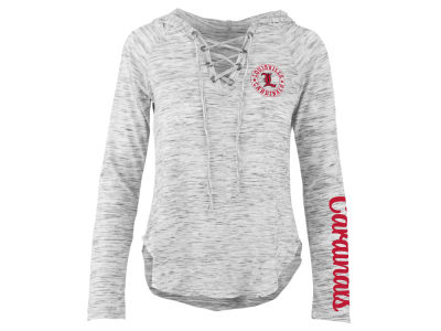 Louisville Cardinals Pressbox NCAA Women's Spacedye Lace Up Long Sleeve T-Shirt