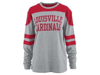 Louisville Cardinals Pressbox NCAA Women's Applique Boyfriend Long Sleeve T-Shirt