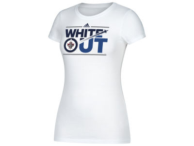 Winnipeg Jets adidas NHL Women's White Out Stream Cap Sleeve T-shirt