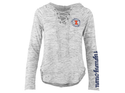 Illinois Fighting Illini Pressbox NCAA Women's Spacedye Lace Up Long Sleeve T-Shirt