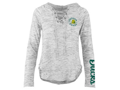 Oregon Ducks Pressbox NCAA Women's Spacedye Lace Up Long Sleeve T-Shirt