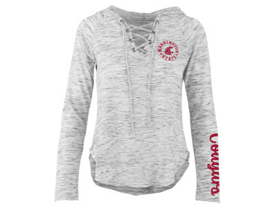 Washington State Cougars Pressbox NCAA Women's Spacedye Lace Up Long Sleeve T-Shirt