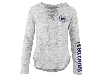 Michigan Wolverines Pressbox NCAA Women's Spacedye Lace Up Long Sleeve T-Shirt