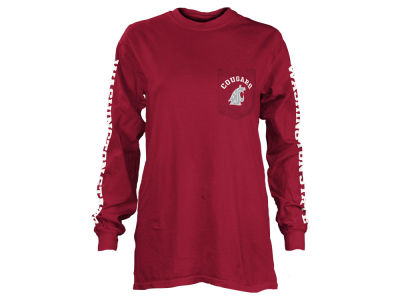 Washington State Cougars Pressbox NCAA Women's Long Sleeve Pocket T-Shirt