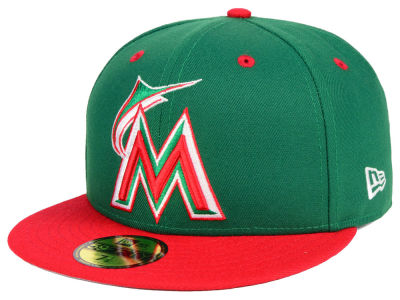 Miami Marlins New Era MLB Green Red 59FIFTY Cap