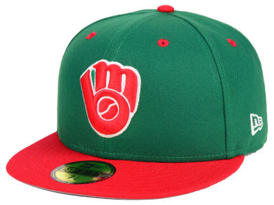 Milwaukee Brewers New Era MLB Green Red 59FIFTY Cap