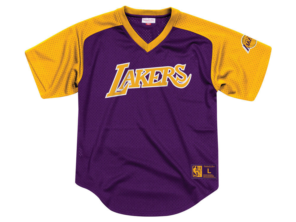 16566ebb8 Los Angeles Lakers Mitchell   Ness NBA Men s Final Seconds Mesh V-Neck  Jersey