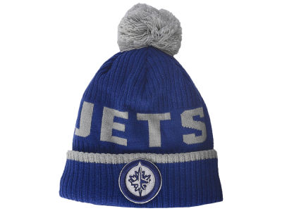 Winnipeg Jets NHL Iconic Stroke Cuffed Pom Knit