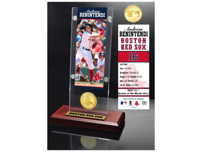 Boston Red Sox Andrew Benintendi Highland Mint Ticket & Bronze Coin Acrylic Desk Top
