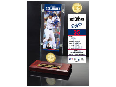 Los Angeles Dodgers Cody Bellinger Highland Mint Ticket & Bronze Coin Acrylic Desk Top